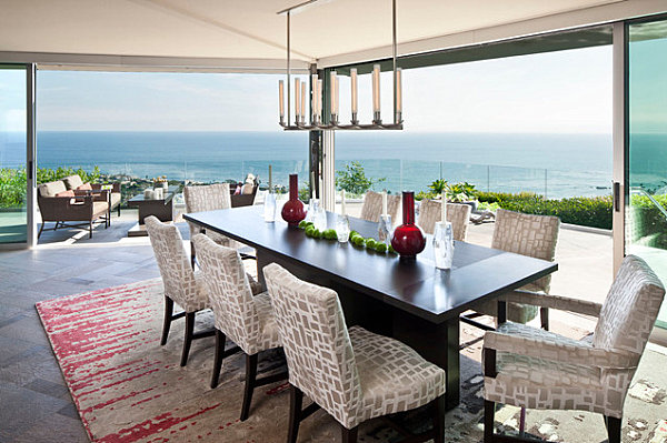 Dining room with glass windows and a view