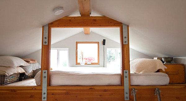 Earthy loft bed in a modern home