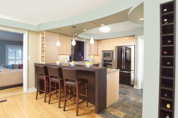 view in gallery eclectic kitchen design with island bar and cool blue ceiling - Down Ceiling Design For Kitchen