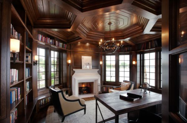... Elaborate Ceiling In Wood Gives This Traditional Home Office A Timeless  Look