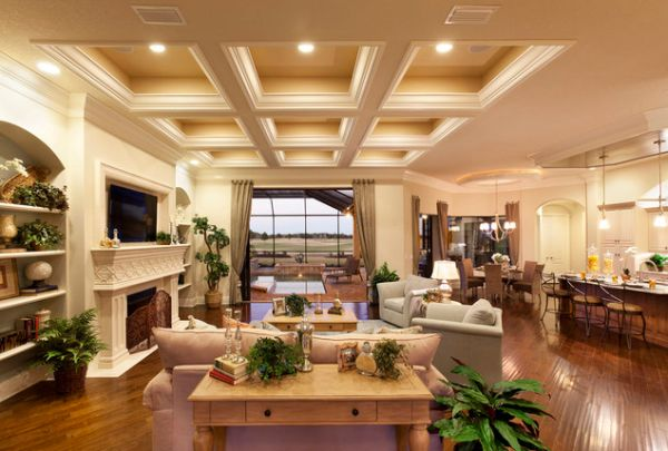view in gallery elegant ceiling and warm lighting gives this living space an immaculate appearance - Ceiling Design Ideas