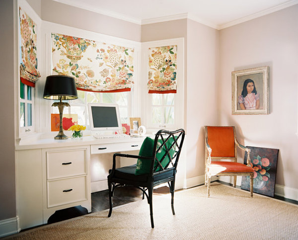 Emerald green and orange in a home office