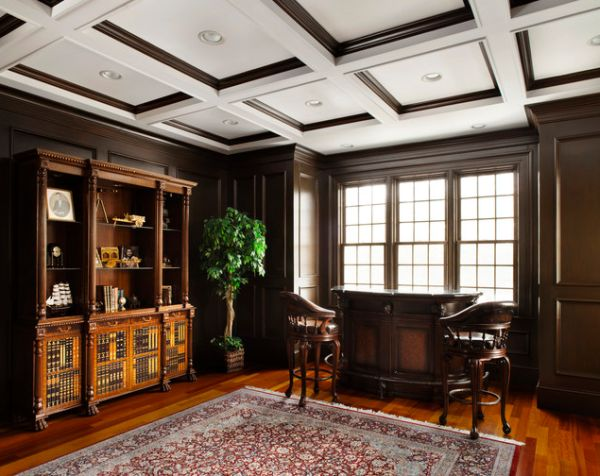Exquisite wood trim ceiling to match the beautiful hardwood floors in this traditional home office