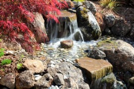 Flowing waterfalls perfect for a vibrant Japanese Garden
