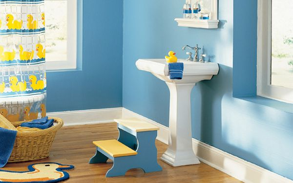 Fun bathroom design with a yellow rubber duck theme