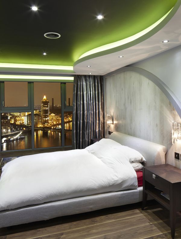 Futuristic-styled contemporary bedroom design with a stunning ceiling