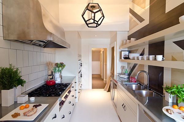 Galley kitchen with stainless bench