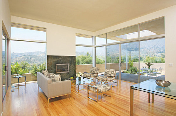 Glass furniture in a modern room with a view