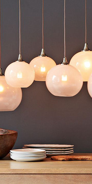 Glass orb pendant lighting