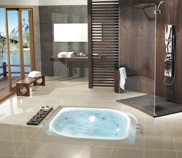 glass shower space and ergonomic jacuzzi design