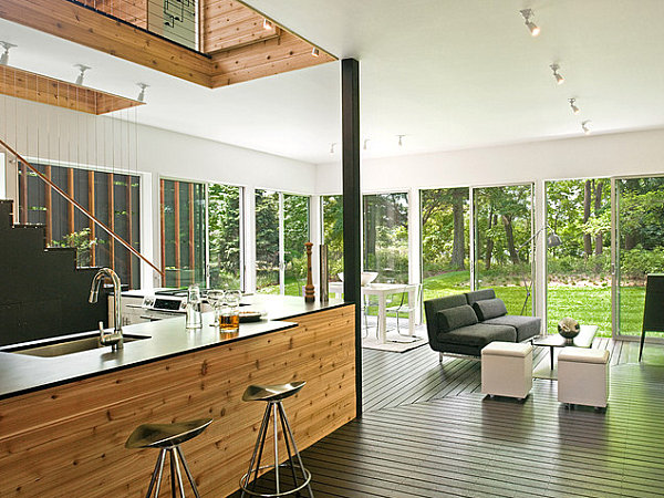 Glass windows in a modern living room