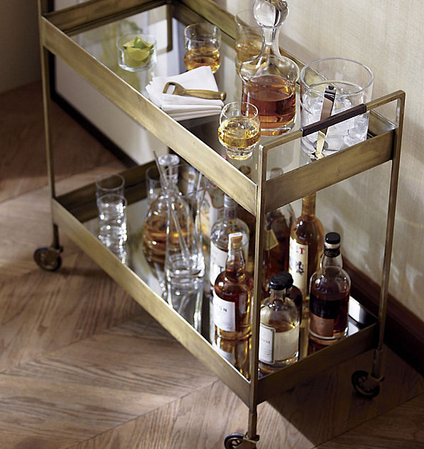 Gold-toned bar cart