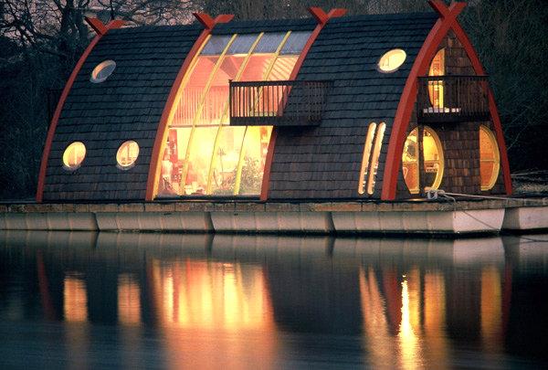 Gothic-style houseboat