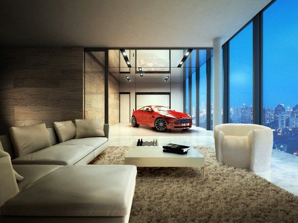 Hamilton Towers Car being parked in the luxurious penthouse Parked to Perfection: Stunning Car Garage Designs