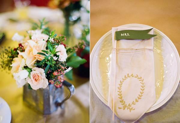 Handmade wedding table items