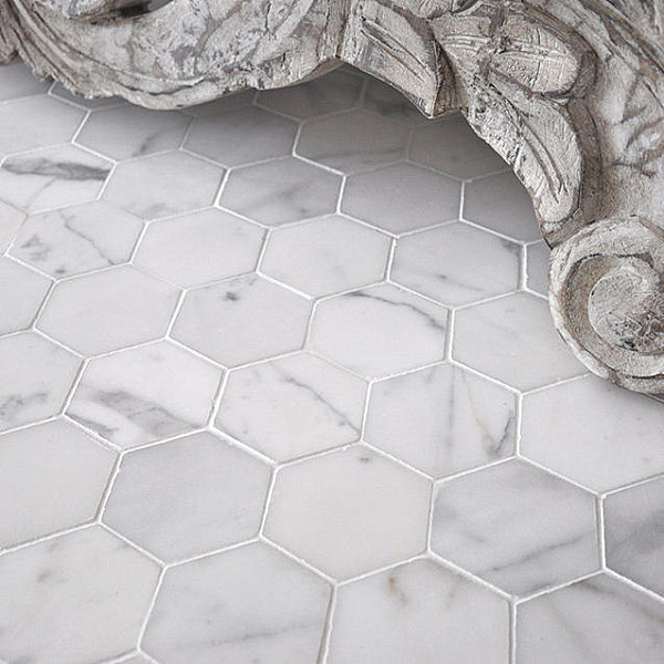White Marble Tile Flooring. View In Gallery Hexagonal Marble Tile White  Flooring