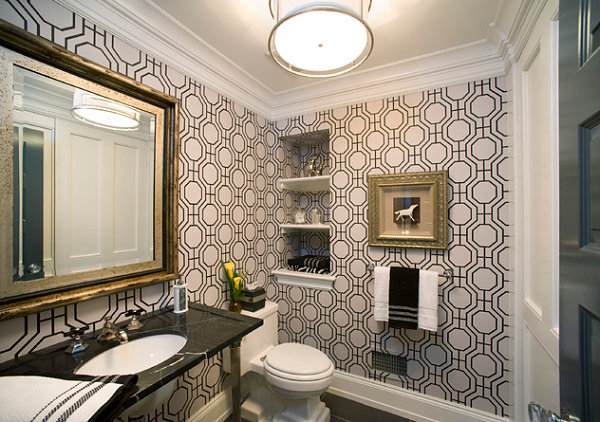Hollywood Regency bathroom wallpaper