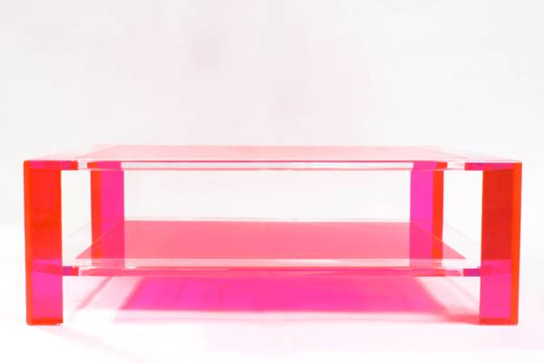 Hot pink acrylic coffee table