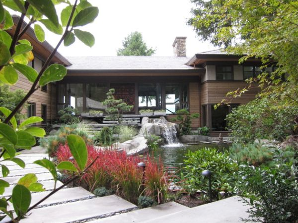 View In Gallery Japanese Blood Grass And Pond With Lovely Waterfalls Stand  Out In This Home Garden