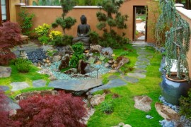 Japanese Garden design blended with a western touch and sporting a Buddha at its heart
