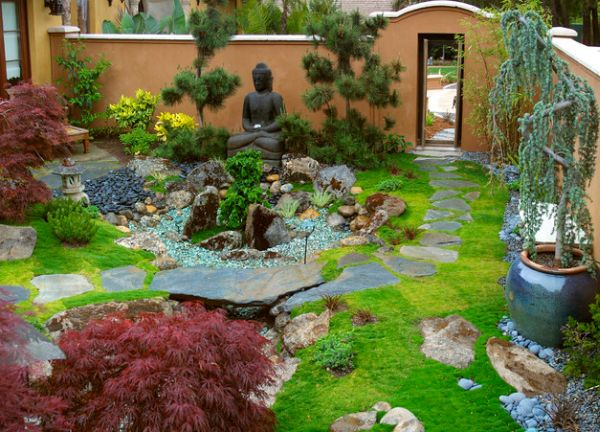 view in gallery japanese garden design blended with a western touch and sporting a buddha at its heart - Garden Landscaping Design