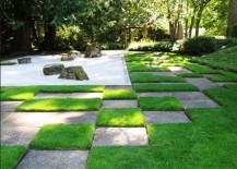 Japanese gravel garden with a distinct pattern