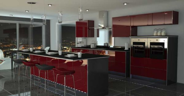10 kitchen color schemes for the modern home for Dark red kitchen cabinets