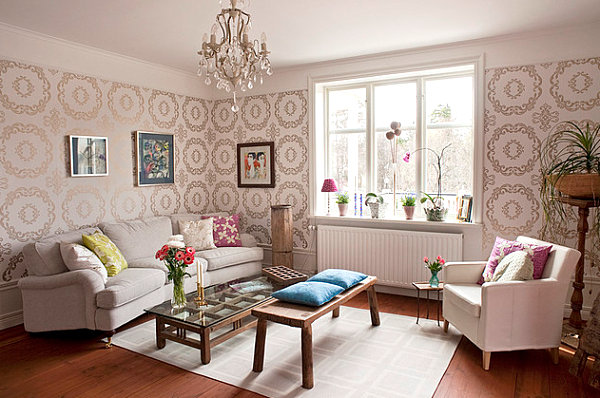 20 eye catching wallpapered rooms for Sitting room wallpaper
