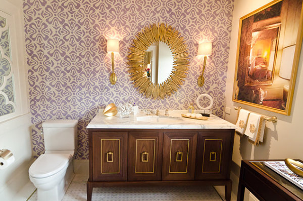 Lavender and white bathroom wallpaper