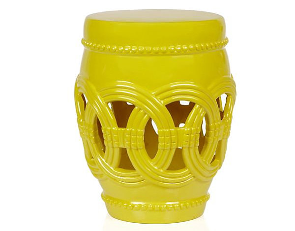 Lemon yellow fiberglass stool