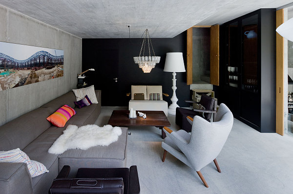 Living area in Swiss underground home