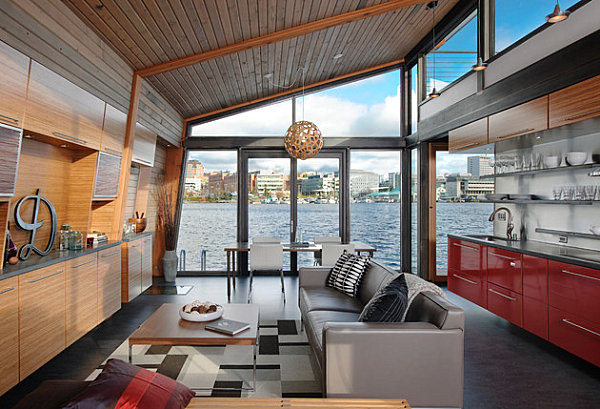 Living area on a floating home