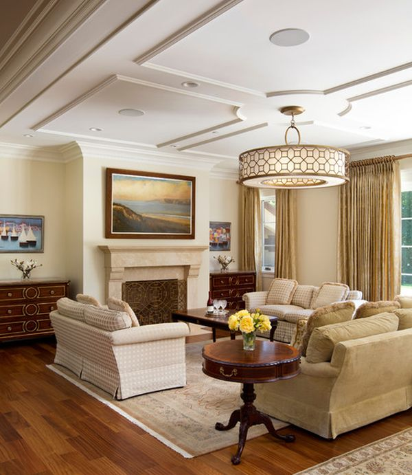 living room with graceful and understated ceiling and lovely soothing tones