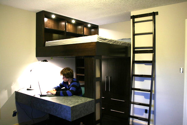 Loft bed and workspace - Decoist