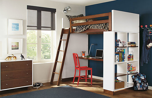 Loft bed with desk underneath decoist for Modern bunk bed with desk