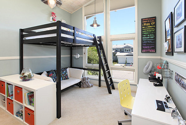 Loft beds allow for seating underneath