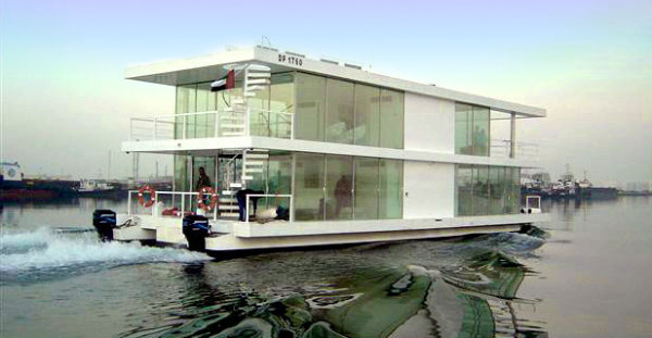 Luxury houseboat on the water