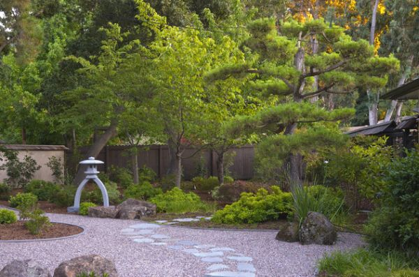 Minimal Japanese Garden with elegant use of rock and sand