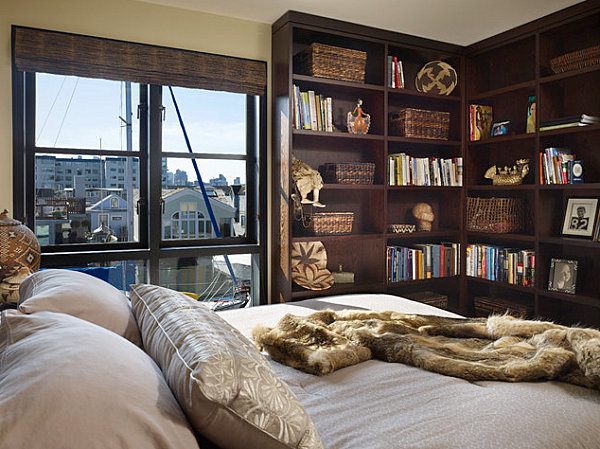 Modern houseboat bedroom