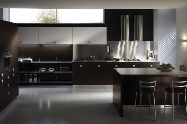 Bon View In Gallery Modern Kitchen Design In Dark Hues
