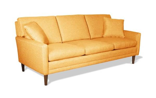 Mustard yellow retro-style couch