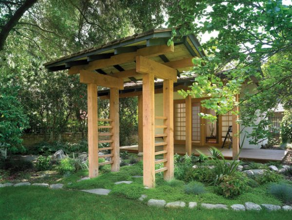 View In Gallery Natural Looking Archway Brings Home The Japanese Garden  Atmosphere With Ease Awesome Ideas