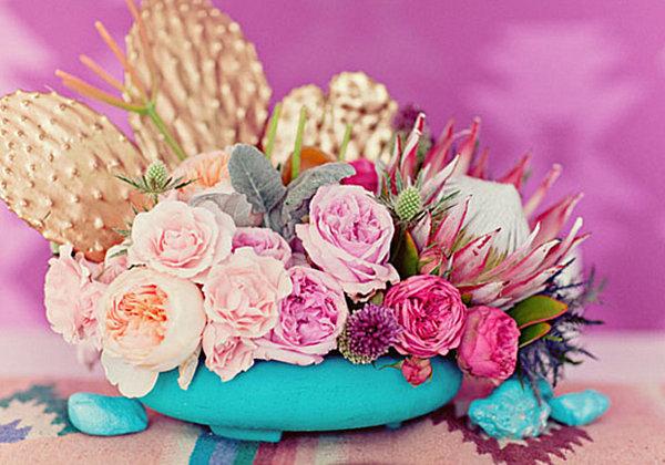 Navajo-themed wedding centerpiece