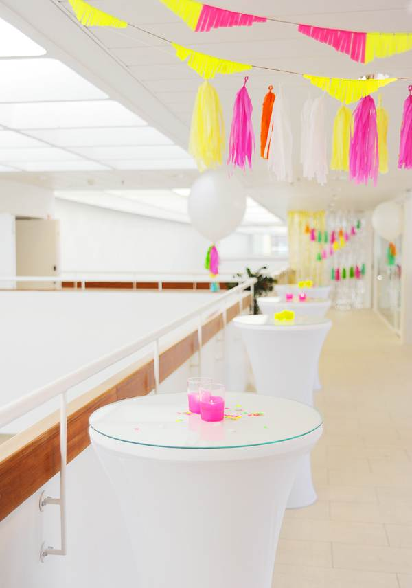 Neon and white party decor