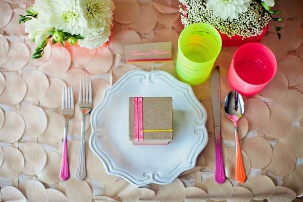 Neon table setting
