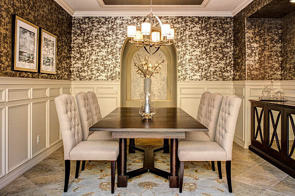 Ornate dining room wallpaper decoist for Dining room wallpaper