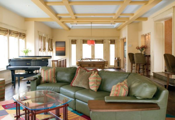 ... Paneled Ceiling And Colorful Decor Help Create This Unique Living Room  Plan