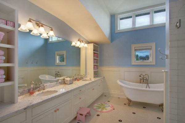 23 kids bathroom design ideas to brighten up your home for Bathroom photos of ladies