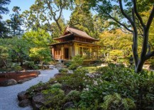 Picture perfect Japanese garden with stone pathway