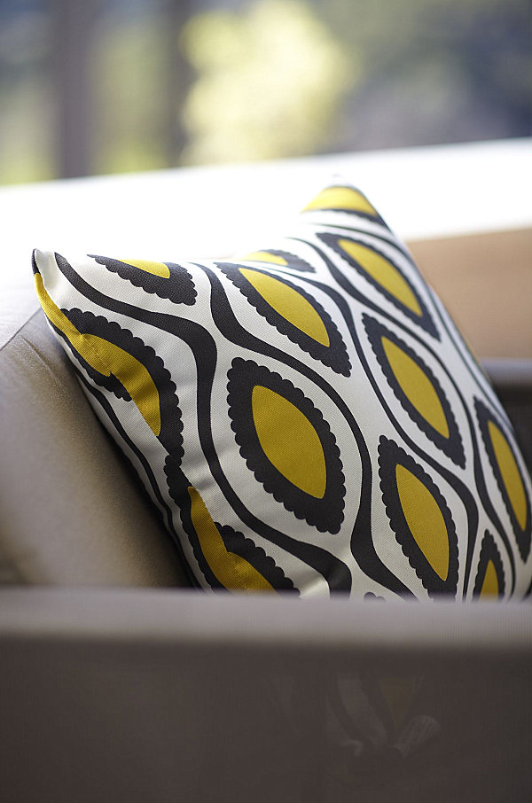 Pillow with mustard yellow accents